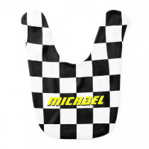Personalized checkered flag auto racing baby bib