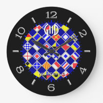 Personalized Checkered Nautical Flags Dial on a Large Clock
