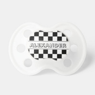 Personalized Baby On Board Black And White Chequer Car Sign