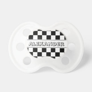 Personalized checkered race flag baby pacifier