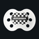 """Personalized checkered racing flag baby pacifier<br><div class=""""desc"""">Personalized checkered racing flag baby pacifier. Funny black and white race flag Soother Binkie Dummy for baby boy. Personalize it with name of child. Newborn gift idea for baby shower,  new mom etc. Auto Sports Car Speed Racing theme.</div>"""