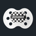 "Personalized checkered racing flag baby pacifier<br><div class=""desc"">Personalized checkered racing flag baby pacifier. Funny black and white race flag Soother Binkie Dummy for baby boy. Personalize it with name of child. Newborn gift idea for baby shower,  new mom etc. Auto Sports Car Speed Racing theme.</div>"
