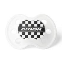 Personalized checkered racing flag baby pacifier