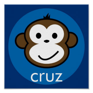Personalized Cheeky Monkey [blue+navy] Poster