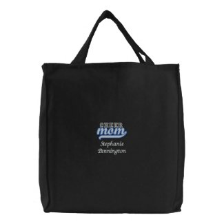 Personalized cheer mom embroidered tote bag embroideredbag