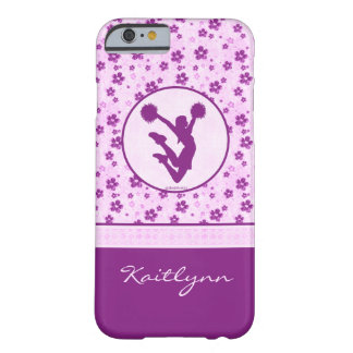 Personalized Cheer or Pom Purple Heart Floral Barely There iPhone 6 Case
