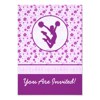 Personalized Cheer or Pom Purple Heart Floral Card
