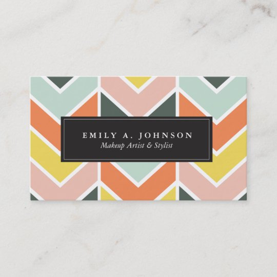 Personalized Cheerful Chevron By Origami Prints Business Card