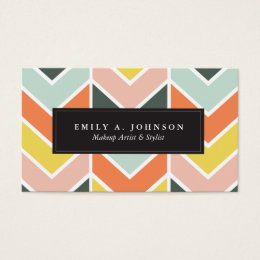 Chevron business cards templates zazzle personalized cheerful chevron by origami prints business card colourmoves Gallery