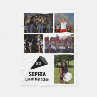 Personalized Cheerleader 5 Photo Collage Name Year Fleece Blanket