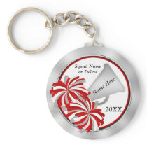 Personalized Cheerleader Gift ideas, Red and White Keychain