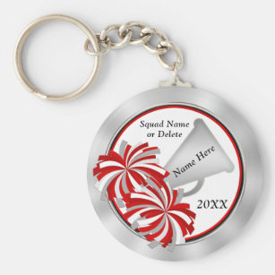 Personalized Cheerleader Gift Ideas Red And White Keychain