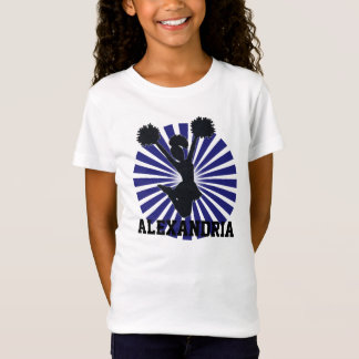 Personalized Cheerleader in Blue Sunburst T-Shirt