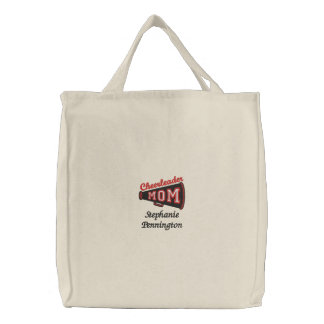 Personalized cheerleader mom embroidered tote bag