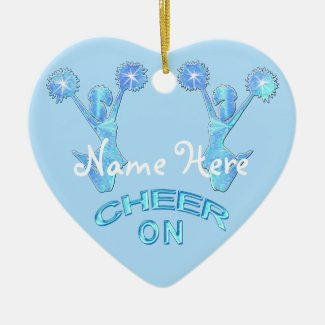 "Personalized Cheerleader Ornament NAME ""Cheer On"""