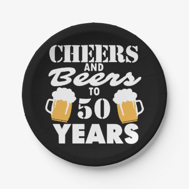 Personalized Cheers and Beers to 50 Years Paper Plate