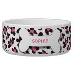 Personalized cheetah print dog bone pet food bowl dog water bowls