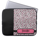 Personalized cheetah print pink laptop sleeve