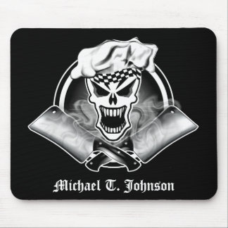 Personalized Chef Skull 2.2 with Cleavers Mouse Pad