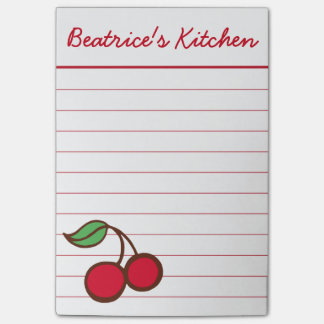 Personalized Cherry Kitchen Post It Notes