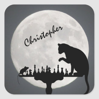 Personalized Chess Full Moon Cat and Mouse Game Square Sticker