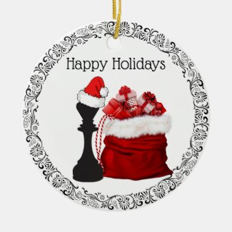 Personalized Chess King Santa Holiday Christmas Ceramic Ornament