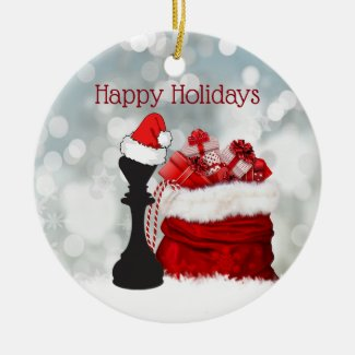 Personalized Chess Winter Snow Santa Christmas Ceramic Ornament