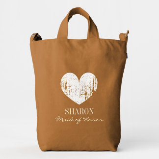 Personalized chestnut brown wedding party tote bag