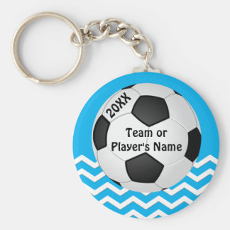 Personalized Chevron Cheap Soccer Gifts for Girls Basic Round Button Keychain
