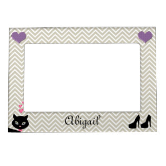 Personalized Chevron Grey Magnetic Picture Frame