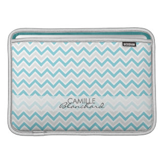 Personalized Chevron Pattern Teal & Grey Modern Sleeves For MacBook Air