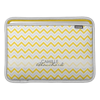 Personalized Chevron Pattern Yellow & Grey Modern MacBook Air Sleeves