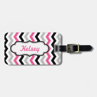 Personalized Chevron Pink and Black Multi Stripes Luggage Tag