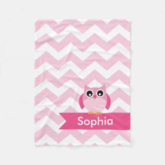 Personalized Chevron Pink Owl Fleece Blanket