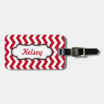Personalized Chevron Red Stripes Tag For Luggage