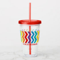 Personalized Chevron Stripe Coach Rainbow Acrylic Tumbler