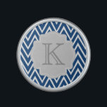 """Personalized Chevron Zigzag Monogram Speaker<br><div class=""""desc"""">This speaker features a navy blue chevron zigzag pattern and a gray accent frame for your custom monogram initial or other text.  Makes a great gift for all occasions.  Click the &quot;Customize It!&quot; button to add text and more!</div>"""