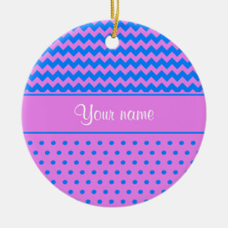 Personalized Chevrons Polka Dots Violet Azure Ceramic Ornament