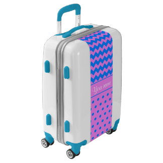 Personalized Chevrons Polka Dots Violet Azure Luggage