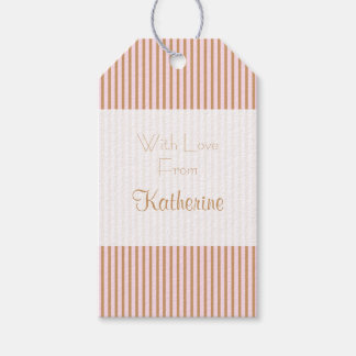 Personalized Chic and Glam Pink and Gold Stripes Gift Tags