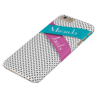 Personalized Chic Black White Blue Pink Ribbons Barely There iPhone 6 Plus Case