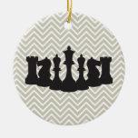 Personalized Chic Chevron Chess Christmas Ornament