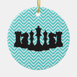 Personalized Chic Chevron Chess Christmas Ornament