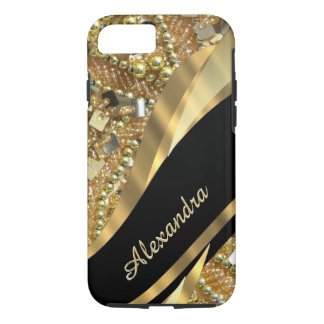 Personalized chic elegant black and gold bling iPhone 7 case