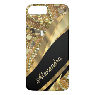 Personalized chic elegant black and gold bling iPhone 7 plus case