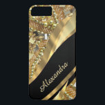 "Personalized chic elegant black and gold bling iPhone 8 plus/7 plus case<br><div class=""desc"">Personalize this pretty chic and elegant girly faux gold bling beaded pattern, and dark black gold swirl ribbon pattern graphic with his or her name or monogram initials to the customizable text templates to create a special unique stylish case to protect your device. This stylish elegant sophisticated design, would be...</div>"
