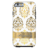 Personalized chic elegant gold and white damask iPhone 6 case