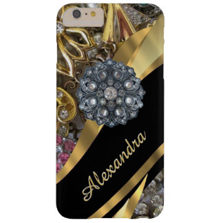 Personalized chic elegant gold rhinestone bling barely there iPhone 6 plus case