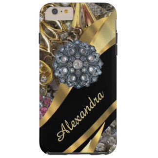 Personalized chic elegant gold rhinestone bling tough iPhone 6 plus case