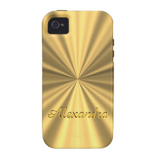 Personalized chic elegant golden faux metallic iPhone 4/4S cover